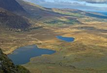 View of Brandon Mountains and Lakes from Conor Pass Co Kerry DM0240